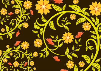 Bright floral ornament with butterflies on a dark background .Vector illustration.
