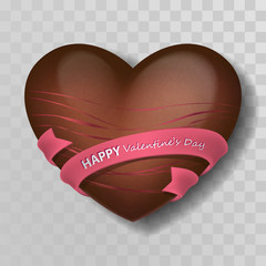 Chocolate heart with pink decor, strips and ribbon with silver lettering Happy Valentines Day. Candies and sweets heart