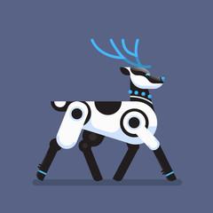Wall Mural - robot reindeer artificial intelligence concept deer cartoon animal flat vector illustration