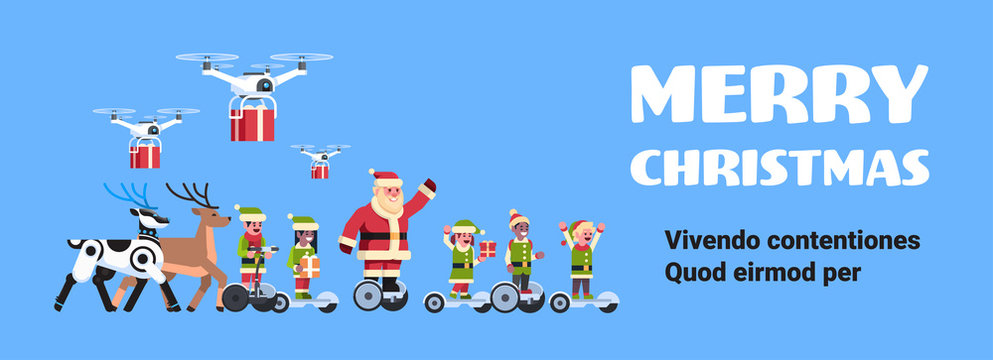 santa claus elf ride electric scooter drone present delivery service robotic deer artificial intelligence christmas holiday new year concept flat horizontal copy space vector illustration