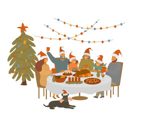 big cute cartoon family,  parents grandparents and children gather at xmas table, celebrating christmas eve isolated vector illustration scene