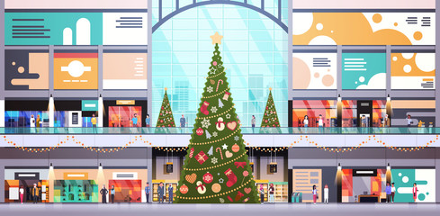 modern shopping mall center decorated for christmas and new year holiday concept many people big retail store interior horizontal flat vector illustration