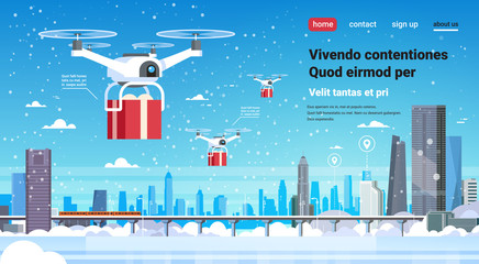 quadcopter drone gift box present delivery service happy new year merry christmas concept monorail cityscape background flat horizontal copy space vector illustration