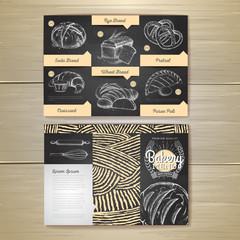 Vintage chalk drawing bakery menu design. Restaurant menu. Document template