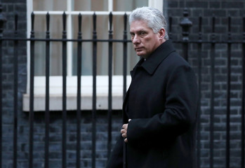 Cuba's President Miguel Diaz-Canel arrives in Downing Street, London