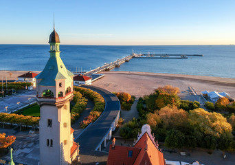 Sopot lighthouse with see bridge - aerial landscape