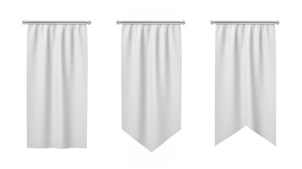 3d rendering of three rectangular white flags hanging vertically on a white background.