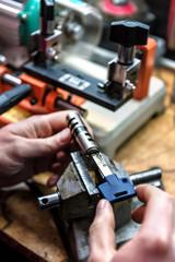 master repairs door lock cylinder