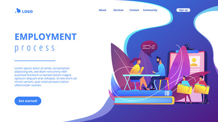 HR specialist having an interview with job applicant and candiadates waiting. Job interview, employment process, choosing a candidate concept. Website vibrant violet landing web page template.
