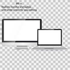 Mockup set of realistic monitor, laptop. Realistic monitor and white screen laptop for easy editing