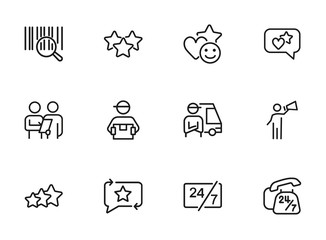 Delivery service icon. Set of line icons on white background. Courier, rating, bar code. Online shopping concept. Vector illustration can be used for topics like shopping, service, business, internet