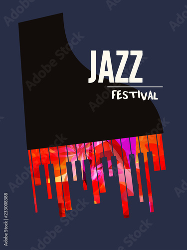 Jazz Music Festival Poster With Piano Flat Vector Illustration