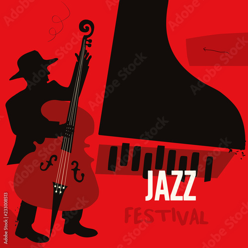 Jazz Music Festival Poster With Piano And Contrabass Flat Vector