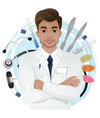 Attractive male doctor in white gown on medical objects background