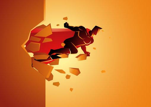 Superhero break through concrete wall