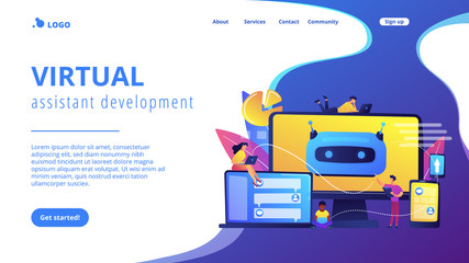 Keuken foto achterwand Cars Developers building, testing and deploying chatbots on platforms. Chatbot platform, virtual assistant development, cross-platform chatbot concept. Website vibrant violet landing web page template.