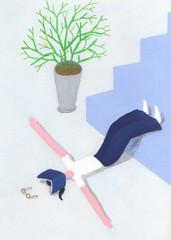 階段に足をかけ寝転がる女性