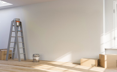 Obraz 3D Illustration leerer Raum Wohnung Renovierung - fototapety do salonu