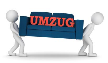 3D Illustration weiße Männchen Umzug Sofa Text