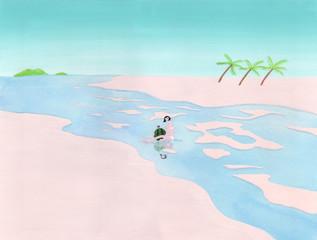 海辺でスイカを抱く女性
