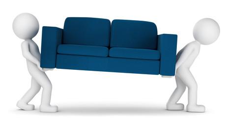 3D Illustration weiße Männchen Umzug Sofa