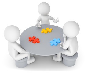 3D Illustration weißes Männchen am Tisch  mit Puzzleteile
