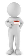 3D Illustration weißes Männchen Kontakperson