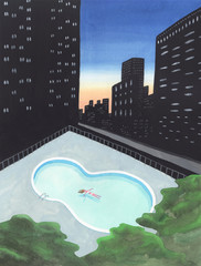 街の中のプールで漂う女性