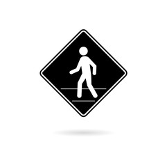 Black Pedestrian Traffic Sign icon or logo isolated on white background