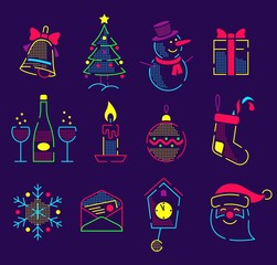 Set of neon bright icons for the new year and christmas