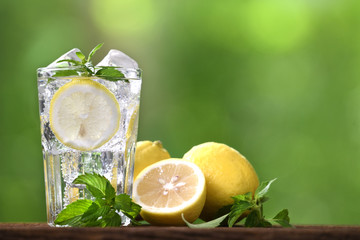 Lemon soda with sliced lemon in glass on nature background