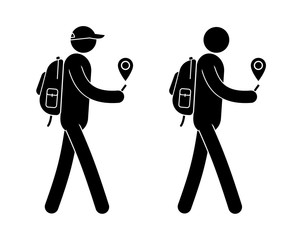 Pictogram man with small backpack is guided along the GPS