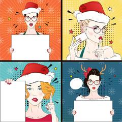 Pop Art Vintage advertising xmas poster comic girl in cat's eye glasses and red santa hat holds a white banner. Vector illustration
