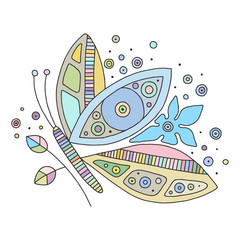 Vector hand drawn colorful illustration of isolated butterfly with decorative elements, branch, leaves, flowers, dots.  Line drawing.