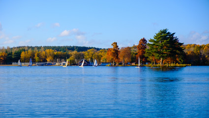 Yachts on a lake with colourful autumn trees
