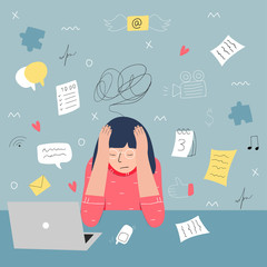 Fototapeta Information overload and multitasking problems concept. Flat and handdrawn vector illustration. obraz