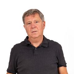 mature man in black  shirt in sorrow
