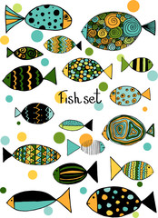 Illustration with fishes. Funny fish outline art.