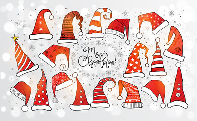 Collection of red christmas hats on white glowing background. Vector illustration.