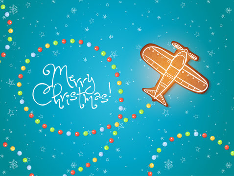 Christmas card with gingerbread airplane and sugar candies