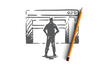 Traffic, website, internet, technology, digital concept. Hand drawn isolated vector.