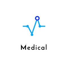 Flat line medicine icon monochrome blue emblem logo, web online concept.Logo of Heart pulse, medical chart for hospital, clinic, medicine appointment app