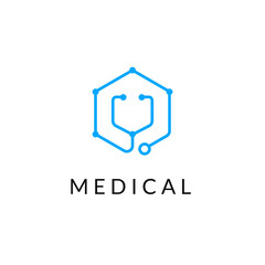 Line medicine icon monochrome blue emblem logo, web online concept.Logo of stethoscope in hexagon shape  for hospital, clinic, medicine appointment app