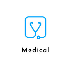 Line medicine icon monochrome blue emblem logo, web online concept.Logo of stethoscope in shape of check sign for hospital, clinic, medicine appointment app