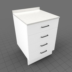 Kitchen base cabinet four drawers