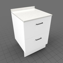 Kitchen base cabinet double drawer