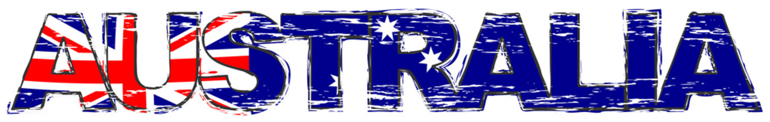 Word AUSTRALIA with Australian national flag under it, distressed grunge look.