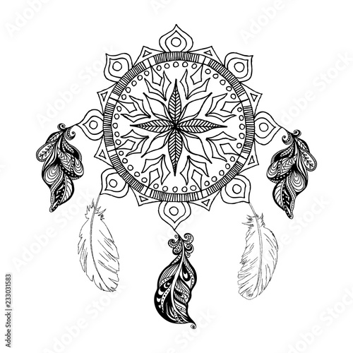 Vector Dreams Catcher And Feathers Mandala Boho Style Stock