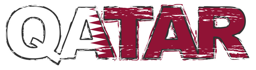 Word QATAR with national flag under it, distressed grunge look.