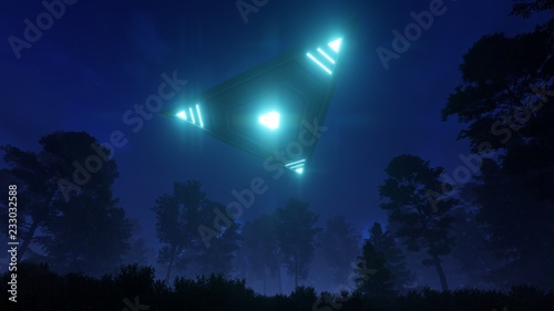3d Triangular Ufo Hung In The Sky In The Evening Stock Photo And